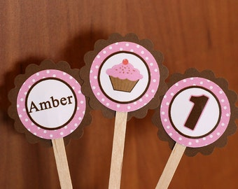 Cupcake Theme Cupcake Toppers (12), cupcake party decorations in Pink and Brown, 1st birthday party decorations