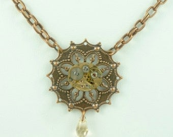 SteamPunk Necklace with Vintage Panto Watch Movement and S