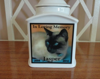 "Pet Urn, Memorial, Cat Urn ""Personalized"", Pet, Dog, Photo Urn, Add photo or poem, Name, Dates"