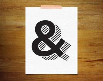 Modern Ampersand Print, Art Giclee Archival Print