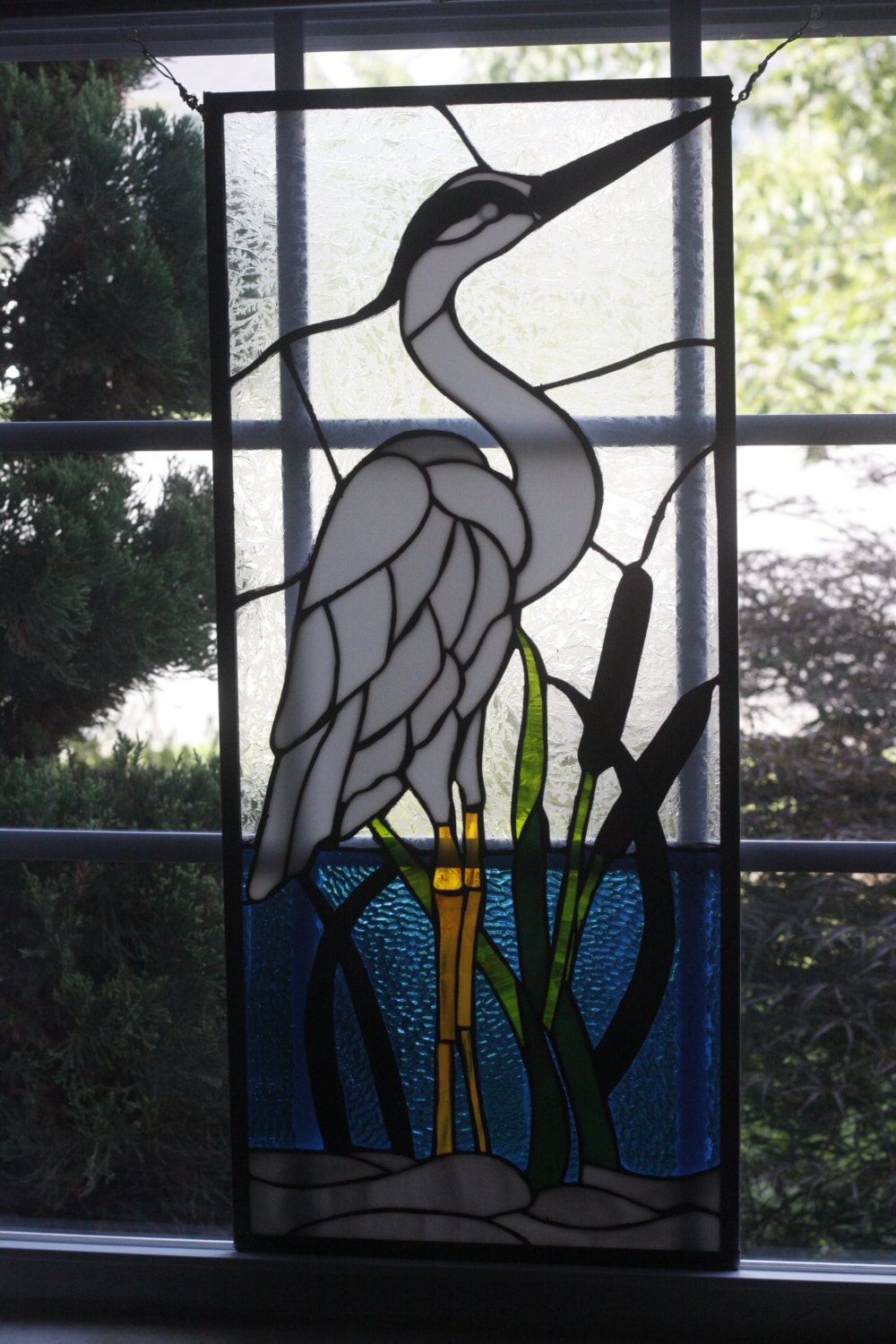 14 X 31 Stained Glass White Heron Panel Stained Glass