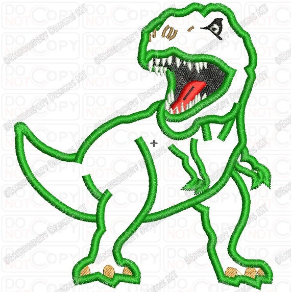 Scary T-rex Dinosaur Applique Embroidery Design in 4x4 and 5x7 Sizes