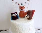 Woodland Needle Felted Animal Birthday Cake Topper Baby Shower Fox Owl and Squirrel with Acorn Garland
