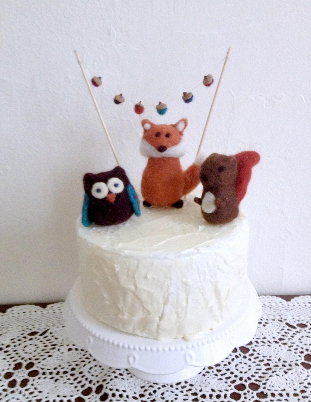 Woodland Needle Felted Animal Birthday Cake by ...