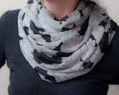 Floral Lace Print Infinity Scarf Lightweight Loop Scarf White Black Gray Circle Scarf Shabby Chic Eternity Scarf Women's Fashion Accessories
