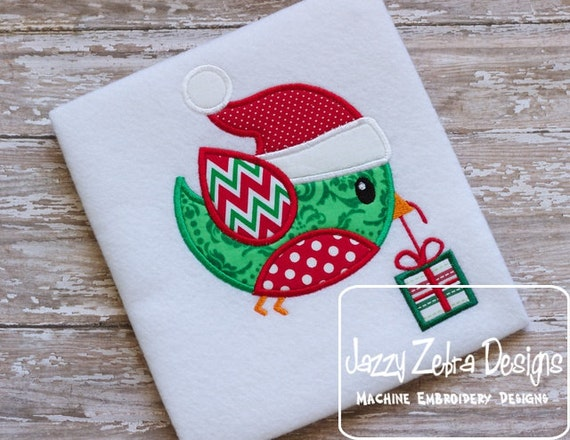 Christmas Bird with Present Appliqué embroidery Design - Christmas Appliqué Design - bird Applique Design - gift Appliqué Design - present