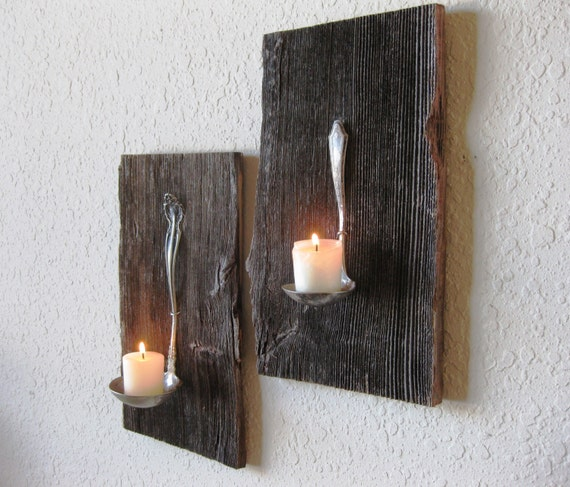 Reclaimed Barn Wood Salvaged Antique Metal Ladle Candle Holder