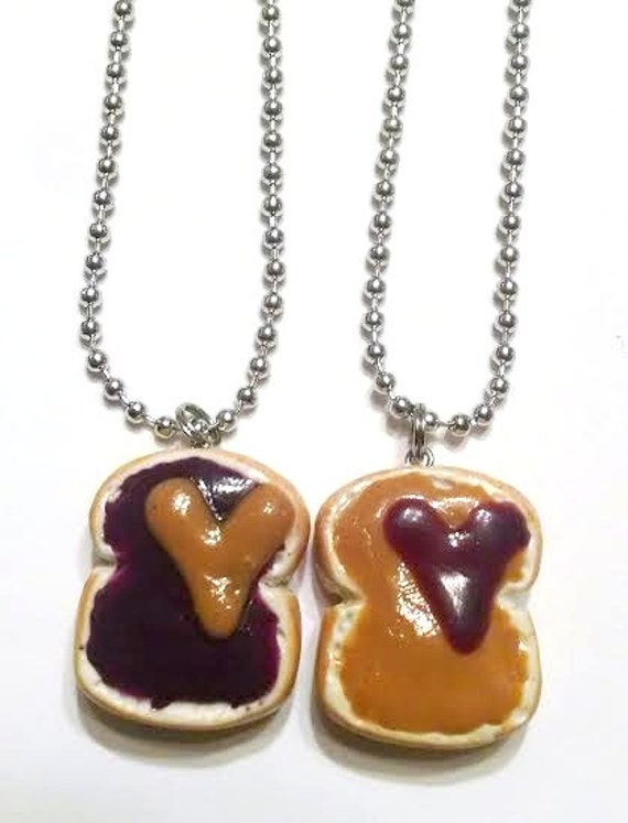 Peanut Butter and Jelly Hearts Necklaces, BFF, Food Jewelry