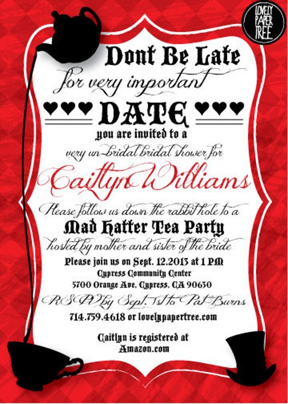 Mad Hatter's Tea Party Bridal Shower Invitation