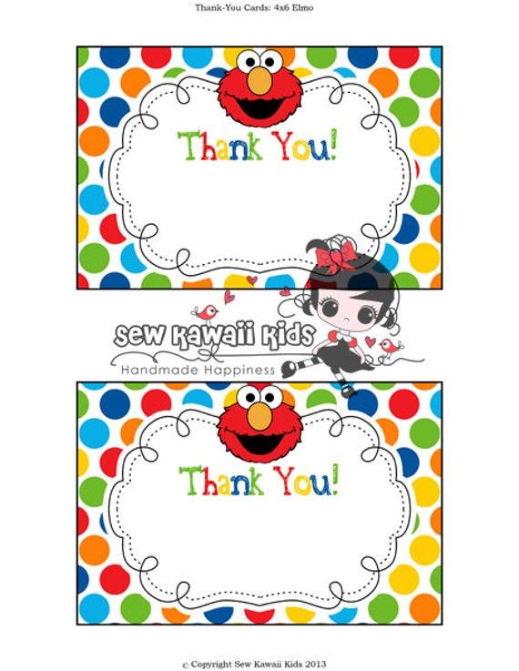 pre-made blank elmo thank-you card matches any of my elmo, Birthday invitations