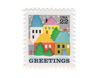 1986 22c Christmas Winter Village Scene - 10 Unused Vintage Postage Stamps - Item No. 2245