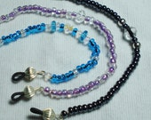 Eye Glass Beaded Bling Cord with Silver findings - Choice of Aqua Blue or Gun metal black or Violet with Crystals