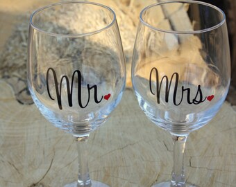 Mr. and Mrs. Extra Large Wine Glasses. Engagement or Wedding Gift- Bride and Groom