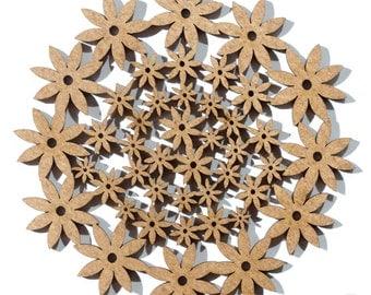 Laser Cut Wood Coaster. Birch Coaster. Flower Pattern