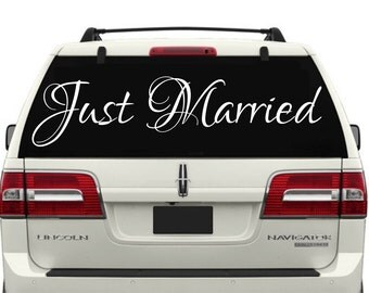 Just Married Car Decal #1 -Just Married Car Window Decal - Just Married Decal - Just Married Sign - Just Married Sign for Car