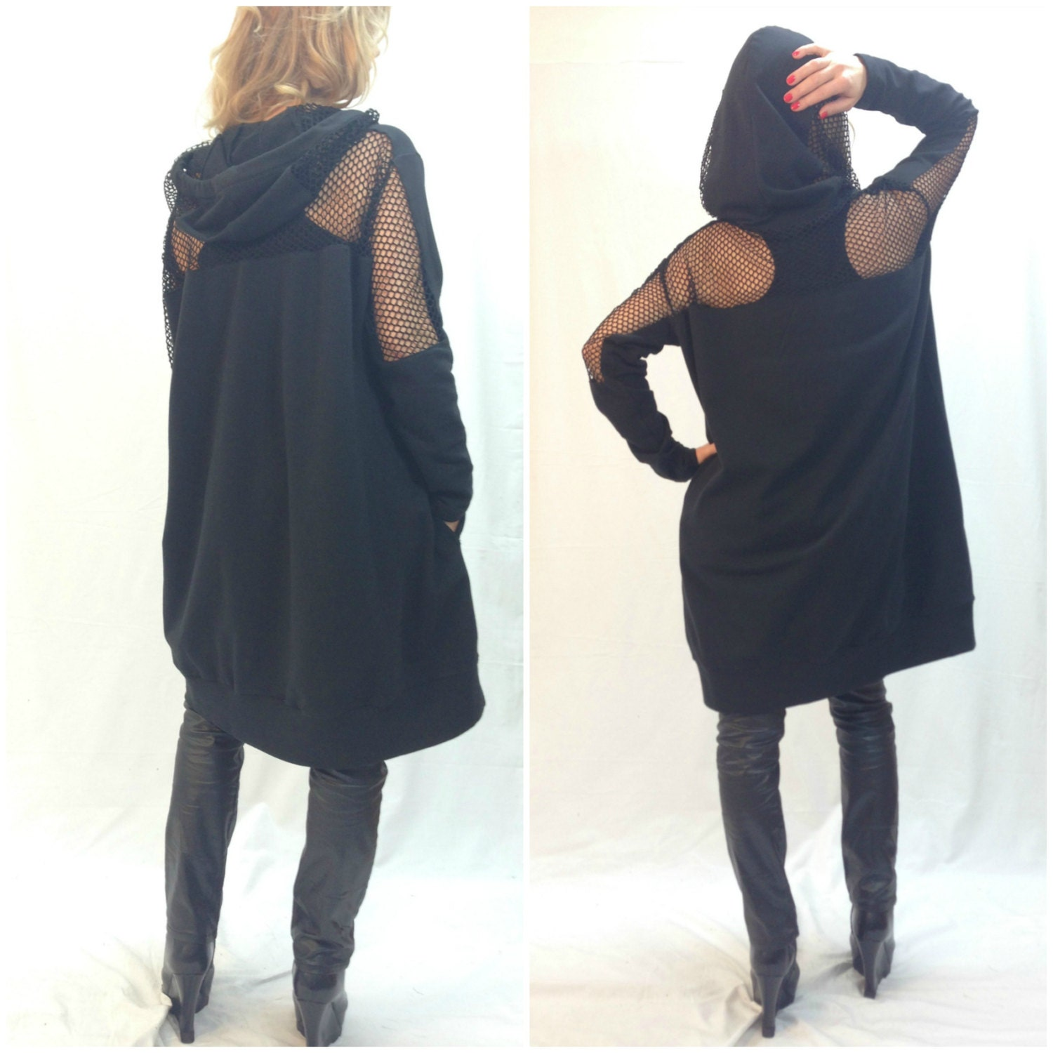 Black Oversize Loose Hooded Cape Top Long by MDSewingAtelier