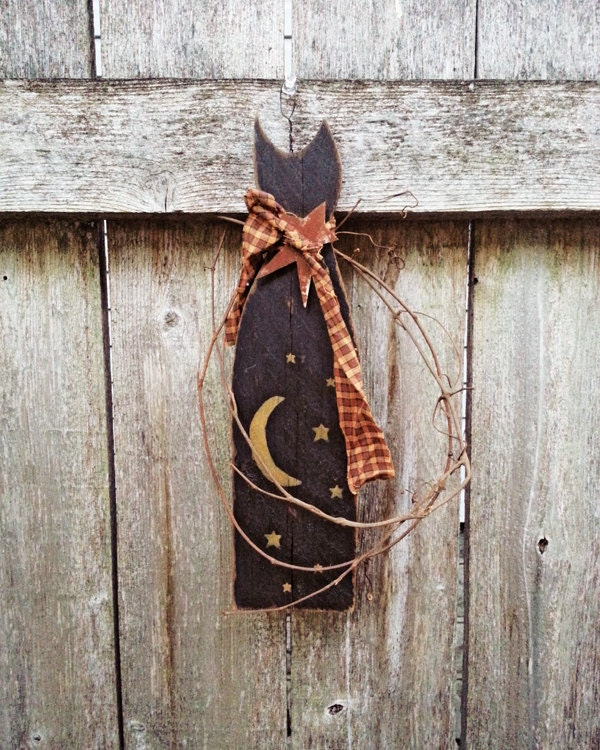 Halloween decoration wood plaque black cat fall rustic country