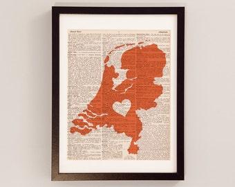 Netherlands Dictionary Art Print - Dutch Art - Print on Vintage Dictionary Paper - I Love Holland Print, Amsterdam, The Netherlands - Oranje