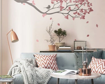 Living Room Decor -   Wall Vinyl Tree Branch with birds  - Wall Decal Wall Sticker -   S002
