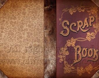 SCRAP BOOK - Printable Download Digital Collage Sheet Art Book Cover Paper Craft Scrapbook