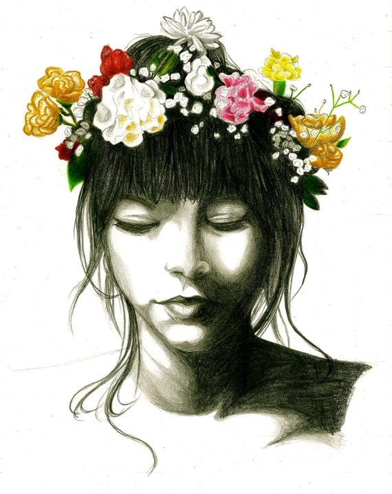Items similar to Flower Crown Girl Art Print (8 x 10) on Etsy