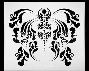 Aggressive Theatrical Crest.  Wall / Art / Painting / Makeup / Furniture / Tattoo / Overlay Airbrush Stencil.
