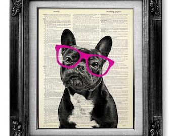 French Bulldog Art Print, Dictionary Art Print DICTIONARY Paper, HIPSTER Art Bulldog Print Geeky Art NERDY Art, Nerd Art Poster Red Glasses