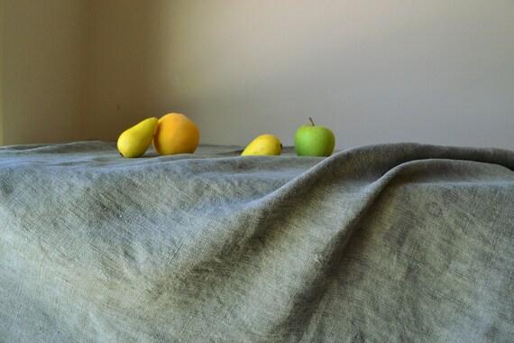 Stonewashed Linen Tablecloth Vintage Chic Sage