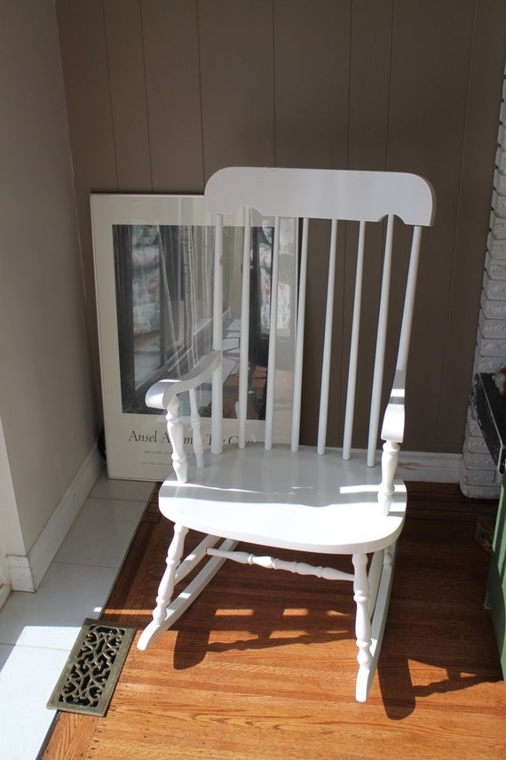 White Wooden Rocking Chair / Scandinavian Rocker / Durable Finish ...