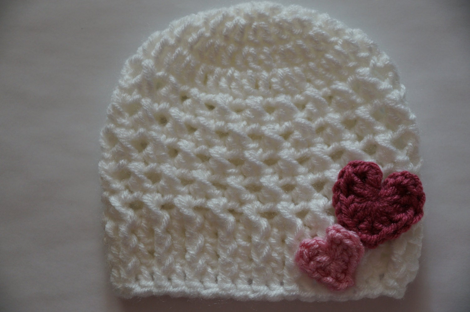 Crochet Valentine Hat : Crochet Baby Girl Hat Valentine Hat White Hat by StrokeandStitch