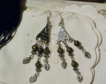 Genuine Unakite Gemstone Chandelier Earrings - Antique Silver French Hooks