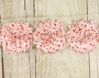 "Rosettes ""White with Red pok-a-dots""  Shabby Chiffon Flower -  shabby flower trim, shabby chiffon rose trim, shabby rosette"