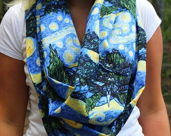 Van Gogh Starry Night Long Infinity Scarf - Blue and Yellow