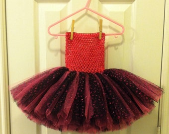 Hot pink,  black and black with hot pink glitter dots Tutu
