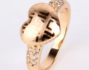 gold plated rhinestones heart ring