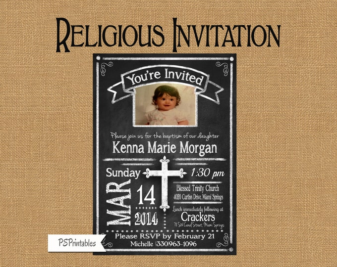 Rustic Chalkboard Style Photo Baptism Christening Invitation - Printable - Print as many as you want