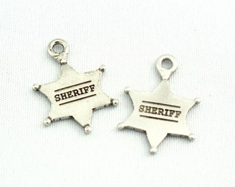 Sheriff Star Antique Nickel / Silver Charm Pendant Finding SKU#PWS0002 QTY: 6