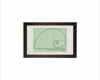 Science art - Mathematics - Fibonacci Spiral & Aristotle quote educational print on paper or canvas up to A0 size math teachers gift