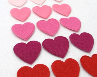 Your Choice of Color(s)|Set of 30 Pieces Felt Heart Shape Die Cut|Polyester Felt|Scrapbook|Supply|Craft