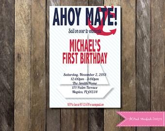 Nautical Birthday Invitation, Nautical 1st Birthday, Nautical Invitation, Printable Invitation, Anchor, Sailboat, Ahoy, Sail, Navy Blue, Red