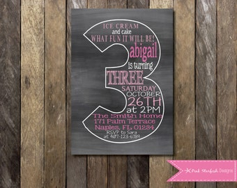 Chalkboard Third Birthday Invitation, Chalkboard Birthday Invitation, 3rd Birthday Invitation, Third Birthday Invitation, Chalkboard Invite