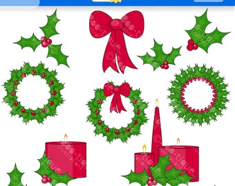 Holly Digital Clipart. Christmas Clip Art for Instant Download. Wreath Clipart. Xmas Clip Art. Xmas Clipart. Christmas Clipart. Candles