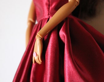 11.5 inch doll clothes - burgundy barbie gown