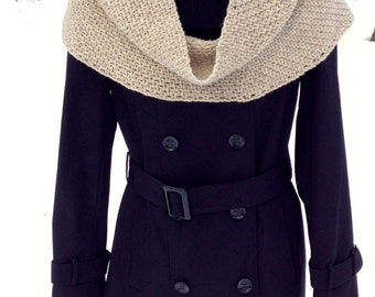 Wool Infinity Scarf - Oatmeal Wool Cowl - White Wool Circle Scarf - Natural Wool Crocheted Cowl