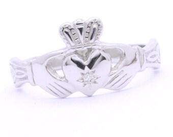 Claddagh ring, ladies diamond  silver claddagh ring