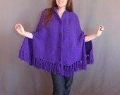 Vintage Royal Purple Knit Cape Poncho, Jewel Buttons and Fringe