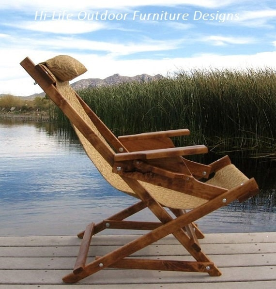 Alder wood sling chair with arm rests by outdoorwoodfurniture