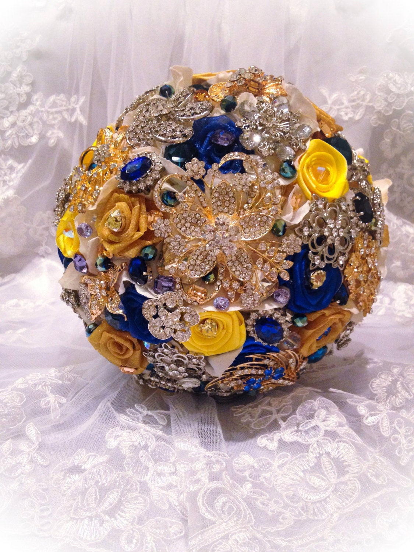 Blue And Yellow Bathroom Decor: Blue Yellow Bridal Brooch Bouquet. Deposit On Custom Royal