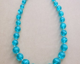 1950's acqua bead necklace