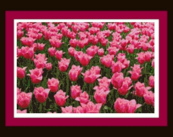 Field of Pink Flowers Cross Stitch Pattern -Nature and Blossom Series - Color Chart - DMC Floss Chart - Just Print and Get Started!
